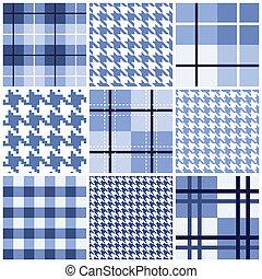 blu, modello, set, seamless