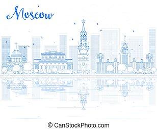 blu, mosca, orizzonte, contorno, landmarks.