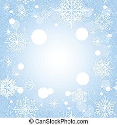 blu, natale, fondo, fiocco di neve