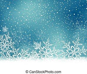 blu, natale, inverno, fondo, fiocchi neve, bianco