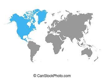 blu, nord, colorare, map., grigio, mondo, america