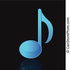 blu, nota, vettore, musicale, isolato