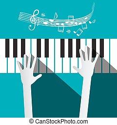 blu, note, mani, roba, fondo, tastiera, pianoforte