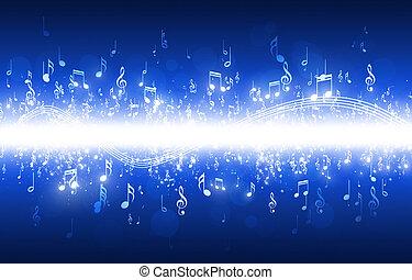 blu, note, musica, fondo