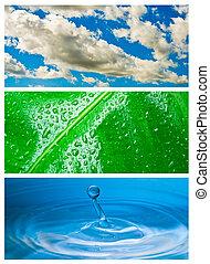 blu, nubi grige, cielo, astratto, goccia, -, acqua pioggia, ambientale, tema, schizzo, sfondo verde, water., goccia, foglia