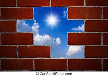 blu, nubi, parete, cielo, sun., mattone