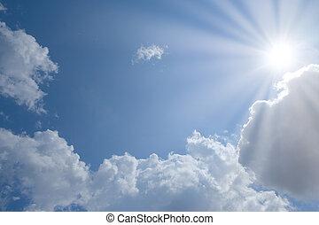 blu, nubi, sole, cielo, posto, testo, tuo