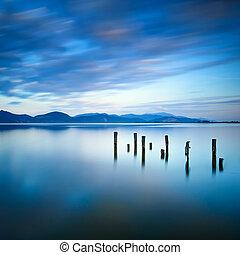 blu, o, italia, riflessione, legno, cielo, molo, toscana, resti, versilia, tramonto, water., banchina, lago