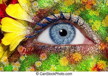 blu, occhio donna, primavera, trucco, metafora, fiori