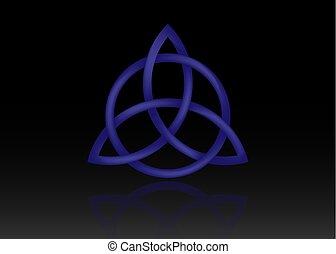 blu, occulto, celtico, set, wiccan, simbolo, isolato, protection., simbolo, simboli, fondo., antico, nero, trinità, nodo, triquetra, nodo, vettore, divinazione, logotipo, 3d
