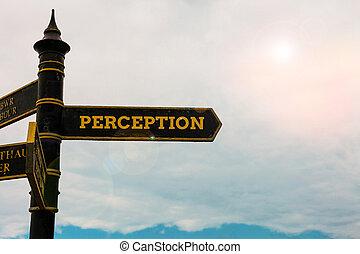 blu, organizzare, fondo., nuvoloso, sensitivo, esposizione, scrittura, strada, individui, cielo, perception., incrocio, interpretare, segno, concettuale, impressioni, testo, foto, loro, mano, affari