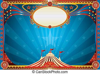 blu, orizzontale, circo, fondo