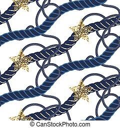 blu, oro, modello, star., seamless, corda, nodo, marina, marino