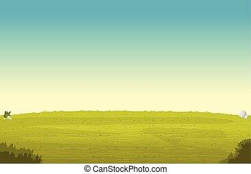 blu, paesaggio., parco, cielo, verde, field., erba