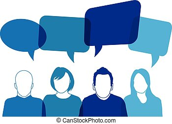blu, parlante, persone