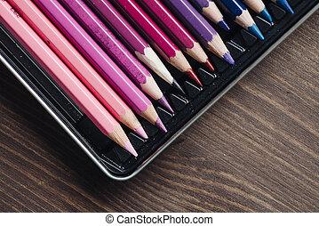 blu, pastelli, colore sfondo, tonalità, matite, file