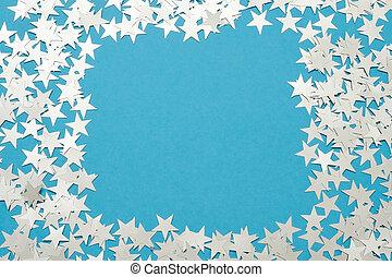 blu, pastello, stella, fondo., brillare, argento