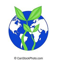blu, pianta, ecologia, globo, simbolo, -, giorno, pianeta, conservazione, congedi verdi, crescente, terra, enviromental, o