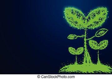 blu, pianta, triangoli, rete, affari, punto, concept., wireframe, linee, poly, fondo., seme, connettere, basso, crescente, astratto, design.