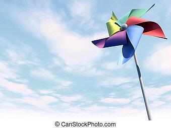 blu, pinwheel, cielo, prospettiva, colorito
