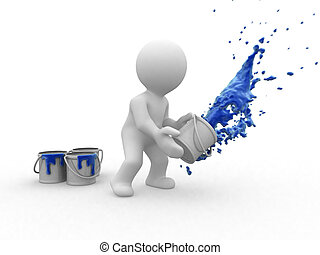 blu, pittore, 3d