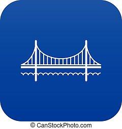 blu, ponte, dorato, vettore, cancello, icona