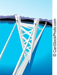 blu, ponte, lungo, mare