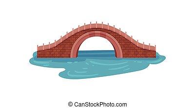 blu, ponte, vecchia città, sopra, theme., appartamento, elemento, river., vettore, footbridge., architettura, disegno, mattone, arco, paesaggio, park.