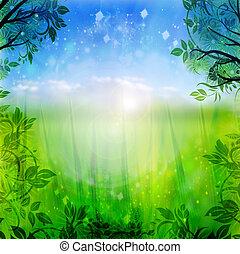 blu, primavera, sfondo verde