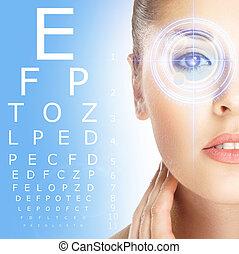 blu, primo piano, donna, laser, sopra, optometria, fondo.