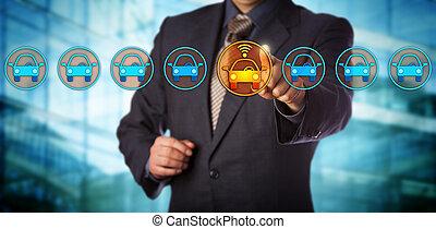 blu, progettista, selezione, scheggia, collegato, automobile
