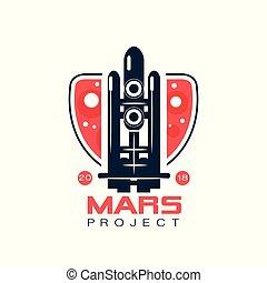 blu, progetto, stile, vettore, emblema, volo spaziale, rocket., astratto, colonizzazione, scuro, programma, viaggio, colors., marte, navetta, logotipo, linea, immagine, rosso