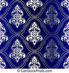 blu, punti, modello, seamless, indiano, argento