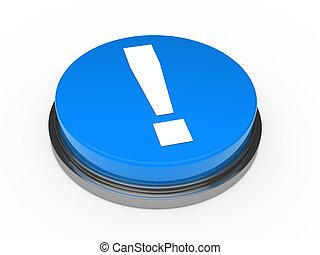 blu, punto esclamativo, 3d, bottone