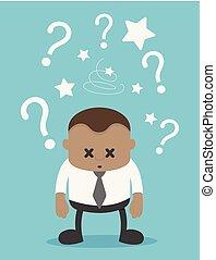 blu, punto interrogativo, fondo, africano, uomo affari