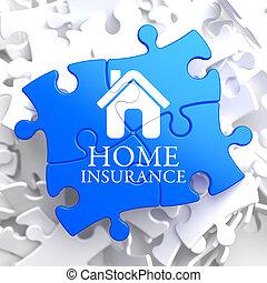 blu, -, puzzle., assicurazione casa, icona