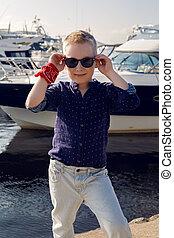 blu, ragazzo, luce, camicia, anni, biondo, pantaloni, bambino, 8