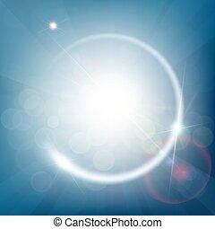 blu, raggi, astratto, light., bokeh, fondo