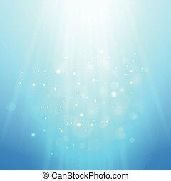 blu, raggi, light., sfocato, bokeh, vettore, fondo