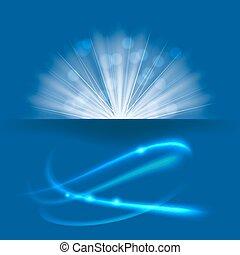blu, raggi, scoppio, luce, fondo., vettore