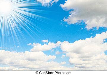 blu, raggi sole, sky., alto