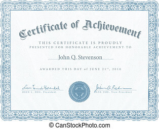 blu, realizzazione, vettore, certificato