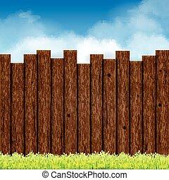 blu, recinto, legno, cielo, erba verde