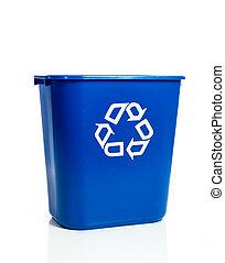 blu, recylcing, bianco, bidone