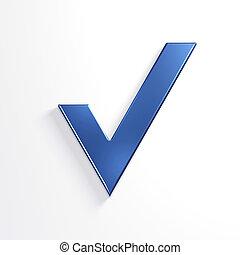 blu, render, mark., illustrazione, assegno, 3d