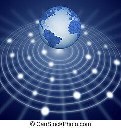 blu, rete, comunicazione, sopra, sistema, terra, galleggianti