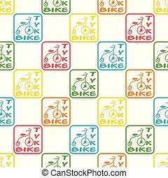 blu, ripetere, modello, seamless, giallo, vettore, verde, tricicli, arancia, rosso