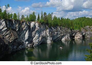 blu, riva, roccioso, lago