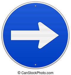 blu, roadsign, destra, indicare