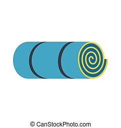 blu, rolled-up, turista, stuoia